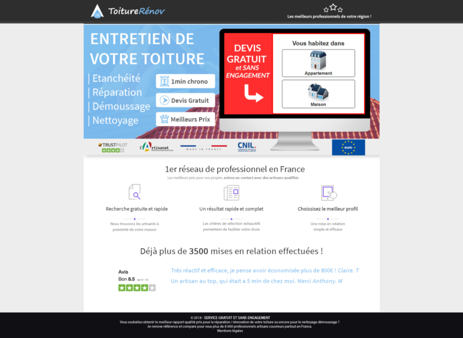 creation landing page html